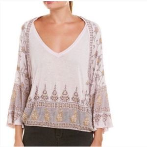 🌻Free People Purple Medallion Gold V Neck Top